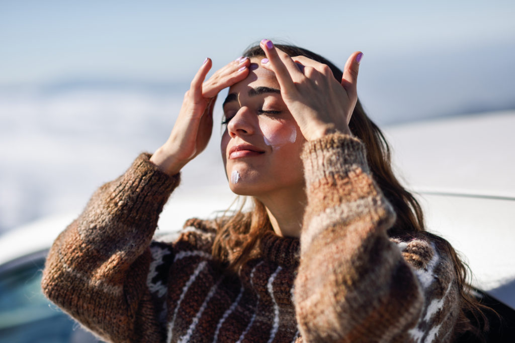woman skincare in the winter