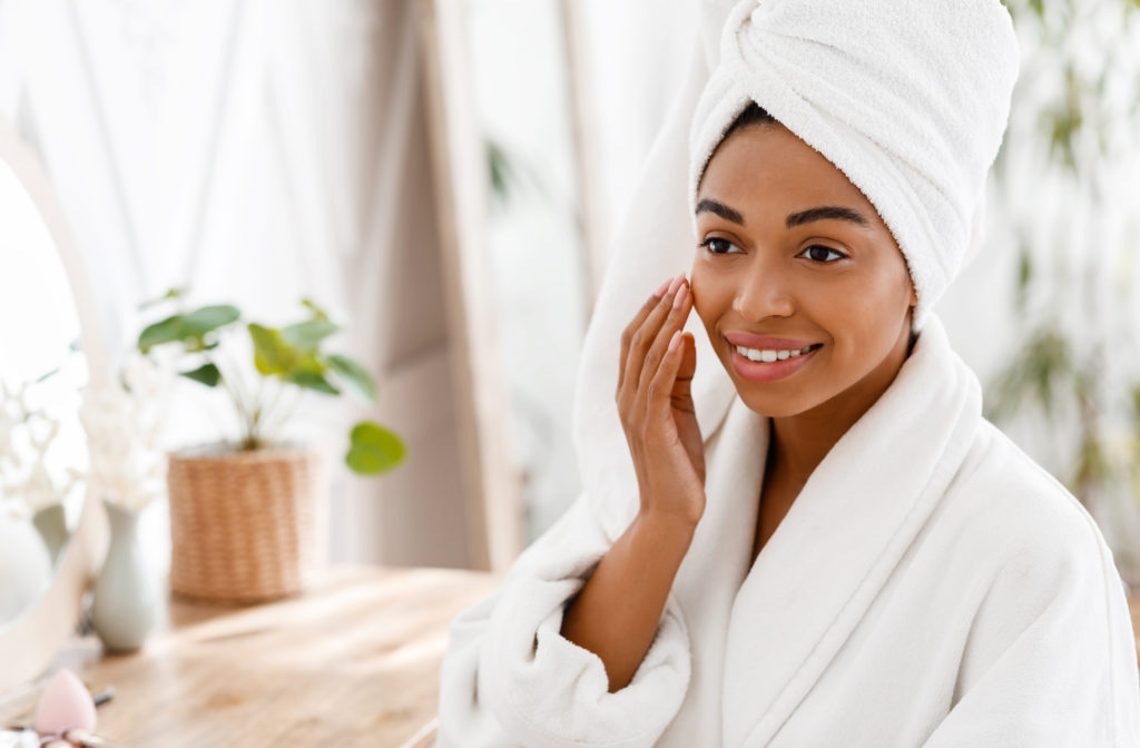 young woman skincare